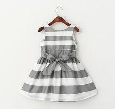Beautiful bow striped vest dress gray and white striped