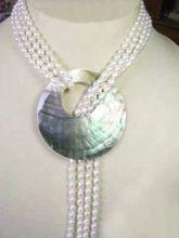 Venda quente 6 - 7 mm natural branco pérola de água doce cultivadas roubd contas de alta qualidade moda feminina colar shell pendant 50 '' BV376(China (Mainland))