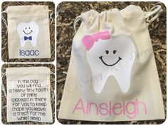 Personalized Tooth Fairy Bag Tooth Fairy Pouch Tooth Fairy Keepsake Tooth Fairy Poem Girl Boy Tooth Fairy Bag Kids Tooth Fairy Sack (7.50 USD) by ScrappyKDesigns