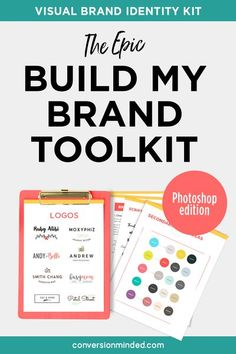 The Build My Brand Toolkit (Photoshop Ed) will help you attract your ideal customers and infuse your visual identity with your brand personality! It includes 10 logo templates, 30 brand graphics, a brand identity workbook, brand board template, brand guideline template, brand color palettes, font ideas, social media templates & more. Click through to learn more! #ConversionMinded #branding