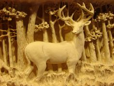 Ohio white-tail mantle deep carving