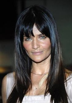 long hair with bangs . Hairstyles With Bangs, Pretty Hairstyles, Adriana Lima Eyes, Older Beauty, Natural Hair Styles, Long Hair Styles, Long Hair With Bangs, Brunette To Blonde, Layered Hair