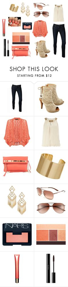 """Gorgeous day out"" by jessicajohnson742 ❤ liked on Polyvore featuring Valerie Perrini, Jane Norman, Dorothy Perkins, Vince Camuto, Wallis, Oakley, Essie, NARS Cosmetics, Lancôme and Clarins"