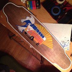 Making progress on the long board #longboard #paintpens #artstudent #art #fathersontime