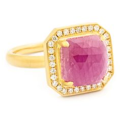 One of a Kind Hot Pink Square Rosecut Sapphire Ring