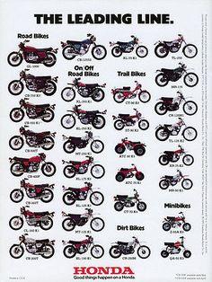 1975 Honda Line Up Full Line Vintage Motorcycle Poster Print Vintage Honda Motorcycles, Honda Bikes, Cool Motorcycles, Honda Cb, Honda Scooters, Motos Vintage, Vintage Bikes, Vintage Cars, Motos Trial