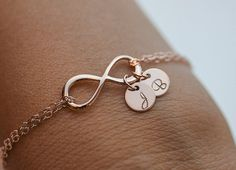 Personalized Infinity Bracelet. Initials Rose Gold Bracelet. two discs  jewelry. Mom 32709141c618b