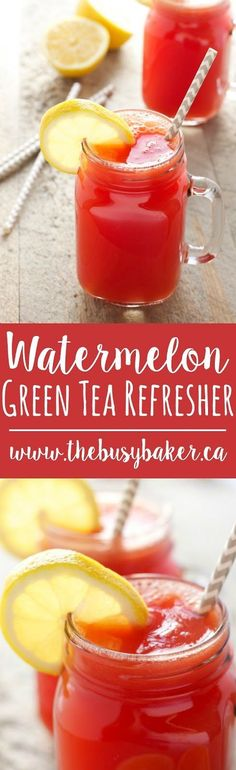 This Watermelon Green Tea Refresher is the perfect healthy non-alcoholic cocktail! Recipe from http://thebusybaker.ca!