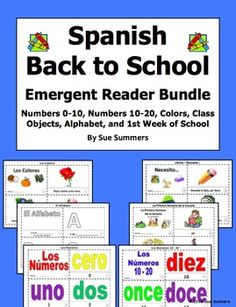 Spanish Back to School Emergent Readers Bundle - 6 Sets of 2 Booklets
