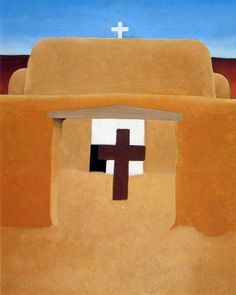 Georgia O'Keeffe -- one of the many paintings of the oldest church in the USA. The museum dedicated only to her work is about a ten minute walk away from this church.