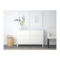 BESTÅ Opberger met lades - laderail, zachtsluitend, Lappviken wit - IKEA
