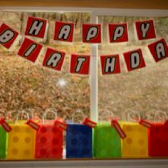 Lego birthday sign & gift bags