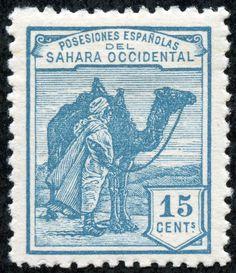 "Spanish Sahara  1924 Scott 3 15c turquoise blue ""Tuareg and Camel"""