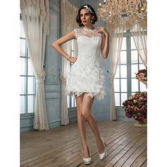 Sheath/Column+Jewel+Short/Mini+Lace+Wedding+Dress+–+USD+$+179.99