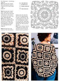 Patterns And Motifs: Crocheted Motif No. Motifs Granny Square, Granny Square Crochet Pattern, Crochet Stitches Patterns, Crochet Squares, Crochet Motif, Crochet Shawl, Crochet Flowers, Crochet Designs, Free Crochet