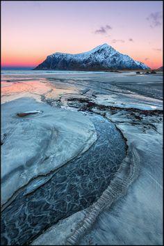 Frozen river into Lofoten, Norway (via Zsolt Kiss)