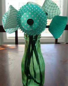 Click pic for 50 St Patricks Day Crafts for Kids - Cupcake Liner Bouquet   Easy Crafts for Kids