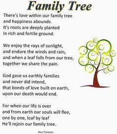 Image result for family tree poem/there's love within our family tree