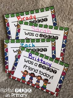 """Students can earn a """"friendship"""" card when they are being a great friend"""