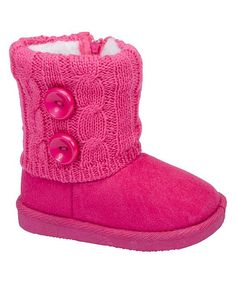 Fuchsia Cable-Knit Double Button Boot