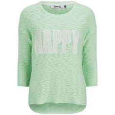 ONLY Women's Happy Slogan Knitted Jumper - Bay ($17) ❤ liked on Polyvore featuring tops, sweaters, shirts, green, crew-neck shirts, three quarter sleeve shirts, loose sweater, crew shirt and lace sweater