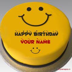 Write name on beautiful smiley cake profile pics Write Name On Cake, Birthday Cake Write Name, Birthday Wishes With Name, Birthday Cake Writing, Happy Birthday Wishes Cake, Happy Birthday Cake Images, Custom Birthday Cakes, Cake Name, Birthday Songs