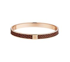 """Hermes narrow leather bracelet (size S) Epsom calfskin and rose gold plated metal .25"""" wide, 2.5"""" diameter  Wear it solo or pair it perfectly with our printed enamel bracelets!"""