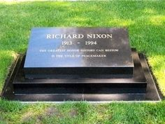 """Richard Nixon (US President during the Vietnam war, the Watergate scandal) who resigned before being impeached. His famous line """"I am not a crook"""". Cemetery Monuments, Cemetery Headstones, Old Cemeteries, Cemetery Art, Graveyards, Julius Caesar, Unusual Headstones, Famous Tombstones, Famous Graves"""