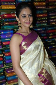 Rakul Preet Photos In White Saree At South India Shopping Mall Launch - Tollywood Stars
