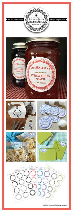Vintage-Style Round Labels by Cathe Holden (Series Peach Preserves, Round Labels, Nutella, Free Printables, Blueberry, Creations, Strawberry, Frames, Vintage Fashion