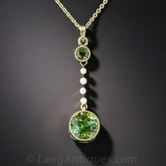 Antique Tourmaline and Seed Pearl Necklace - Vintage Jewelry