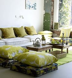 Boho style  PERFECT Way to use the Pair of Chevron Square Pillows...As a Base for the Oversized Print Pillows!