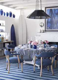 Ralph Lauren Home& Spring 2016 collection, Elizabeth Street, celebrates creative loft living in a chic mix of indigo and white Blue Rooms, White Rooms, September Colors, Interior Desing, Home Living, Dining Room Design, Room Decorations, White Decor, Wabi Sabi
