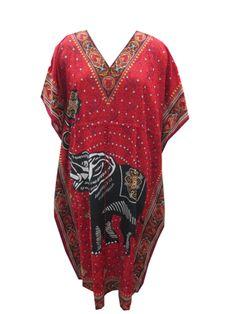 Ladies Hot Red Printed Kaftan Floral Printed Gypsy Evening Wear Kaftan