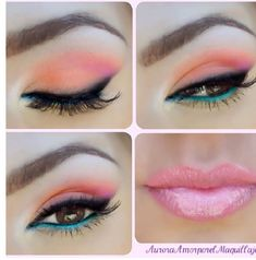 Bright pink, orange, blue shadow/liner with an electric pink lip. So fresh! #makeup #beauty #GetElectricwithUD