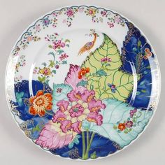 """Tobacco Leaf"" china pattern with multicolored flowers from Mottahedeh."