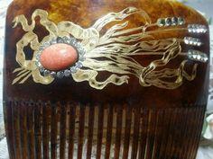Exquisite Antique Hair Comb Coral Stone   eBay