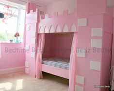 Could take a basic bunk bed and add molding / trim - then paint for a simple castle bed. :)