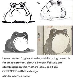 I searched for frog ink drawings while doing research for an assignment about a Korean Folktale and stumbled upon this masterpiece. and I am OBSESSED with the design also he needs a name - iFunny :) Animal Sketches, Art Sketches, Art Drawings, Frog Drawing, Cute Reptiles, Frog Art, Cute Frogs, Frog And Toad, Amphibians