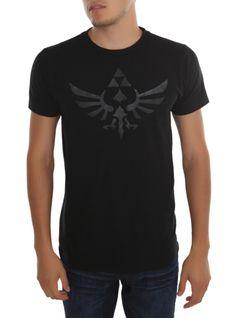 Black T-shirt from The Legend Of Zelda with black high density ink Triforce emblem design on front.