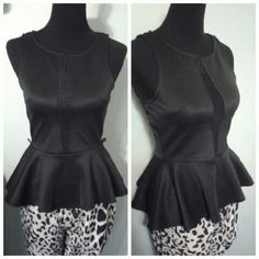 ARDEN B. PEPLUM TOP Black Arden B. Peplum top w/mesh detail. Plunge w/mesh detail goes from neckline to bellybutton. Missing belt. Size: S. Soft comfortable material w/ 5% spandex, would fit a size M as well. Never worn. Arden B Tops