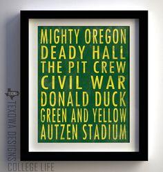 Eugene, Oregon Subway Scroll Art Print. $25.00, via Etsy. I might have to make something similar for football season...