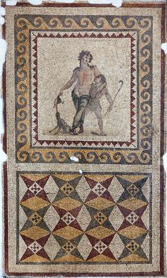 Inventory No : 861 The Mosaic of Drunken Dionysus is made on a white and cream ground and bordered with geometrical saw-toothed patterns and wave motifs. A standing Dionysus figure leans on a satyr holding a wand. The panther in the mosaic laps the wine spilled from the goblet in Dionysus' hand.
