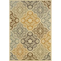 Oriental Weavers Maui Floral Ivory & Grey Area Rug - I think the blues with the warmer yellows would look really nice in our living room with the blue-gray walls :)