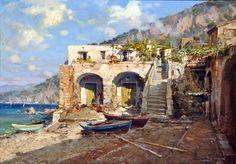 Aprile Vincenzo (Napoli 1952) Costiera olio su masonite, cm 70x100
