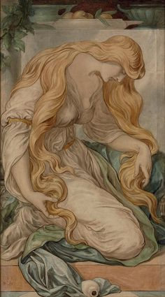 Frederic James Shields, 1833-1911 Mary Magdalene, signed with monogram and dated 1879, pencil and watercolour on paper, 97,8x54,6 cm Christie's Sale 7919 Lot...