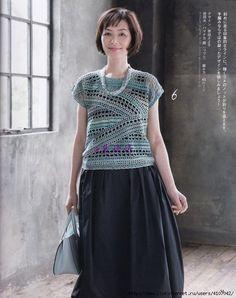 "Photo from album ""Let's Knit series on Yandex. Crochet Shirt, Crochet Motif, Knit Crochet, Crochet Patterns, Crochet Ideas, Knitting Books, Crochet Clothes, Ideias Fashion, Short Sleeve Dresses"