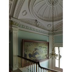 Top of the staircase, with its plaster dome by Richard and William Virtuvius Morrison, Fota House, Co Cork.