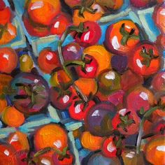 Cherry Tomatoes, painting by artist Elizabeth Fraser
