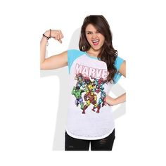 Short Sleeve Raglan Top with Marvel Comics Screen ($13) ❤ liked on Polyvore featuring tops, raglan top, marvel comics, short sleeve tops and raglan sleeve top